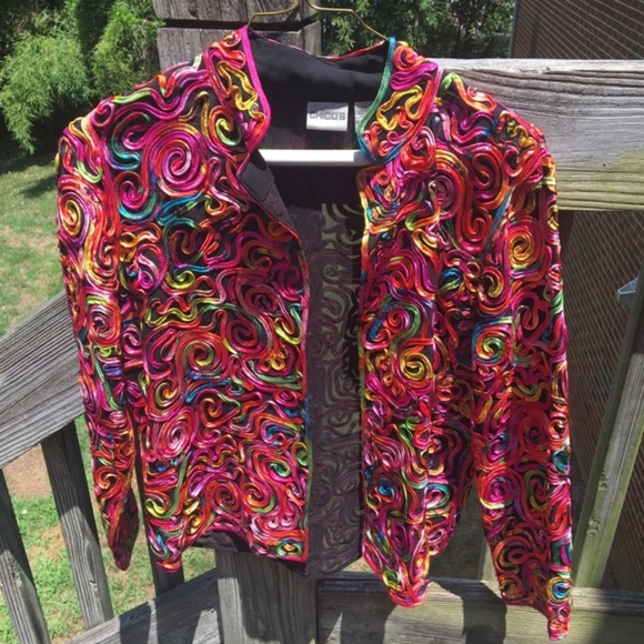 Chico's Jackets & Blazers - ‼️FINAL PRICE‼️CHICO'S Colorful Ribbon Silk Jacket